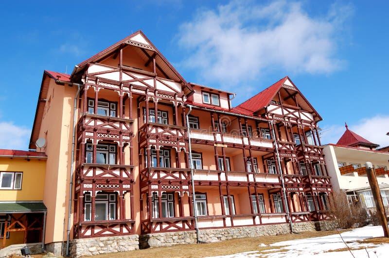 Modern luxury hotel at ski resort. High Tatras, Slovakia stock photo