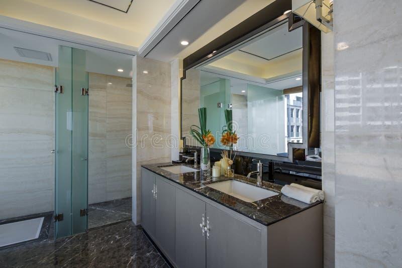 Modern luxury interior home design bathroom stock photography
