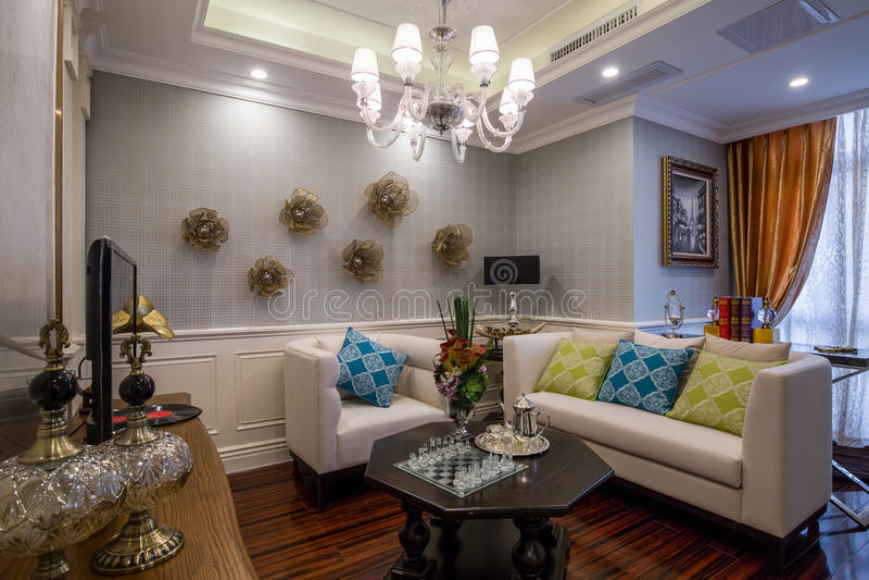 modern luxury interior home design parlor living room sofa stock