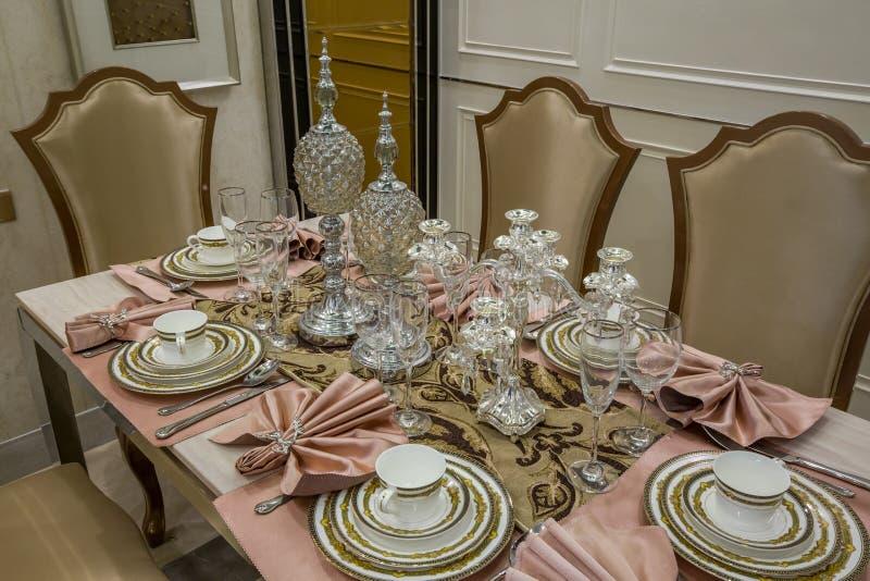 Modern luxury interior home table decoration design dining villa royalty free stock image