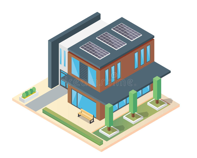 Modern Luxury Isometric Green Eco Friendly House With Solar Panel. Suitable for Diagrams, Infographics, Illustration, And Other Graphic Related Assets stock illustration