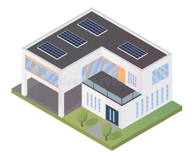 Modern Luxury Isometric Green Eco Friendly House With Solar Panel. Suitable for Diagrams, Infographics, Illustration, And Other Graphic Related Assets royalty free illustration
