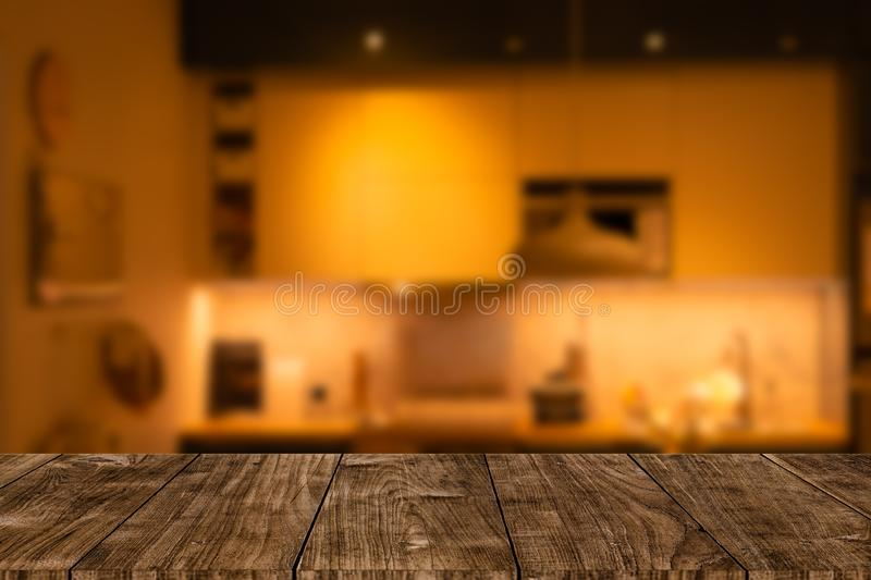 Modern luxury kitchen home interior with wooden tabletop space stock images