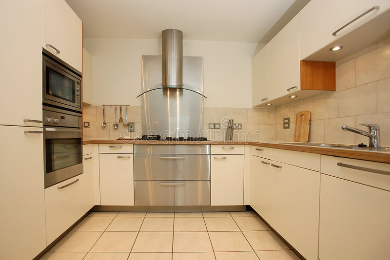 Modern Luxury Kitchen Interior. Domestic kitchen interior in a modrn aspartment with stainless steel extractor hood stock photography