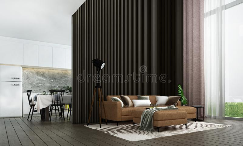 Modern luxury living room interior design and wood stripe texture wall pattern background and kitchen room and sea view vector illustration