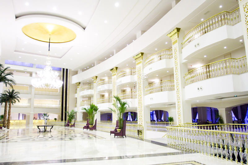 Modern luxury lobby interior in hotel stock image