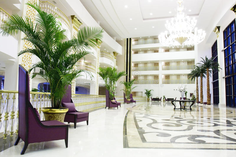 Modern luxury lobby interior in hotel in Kemer, An stock photo
