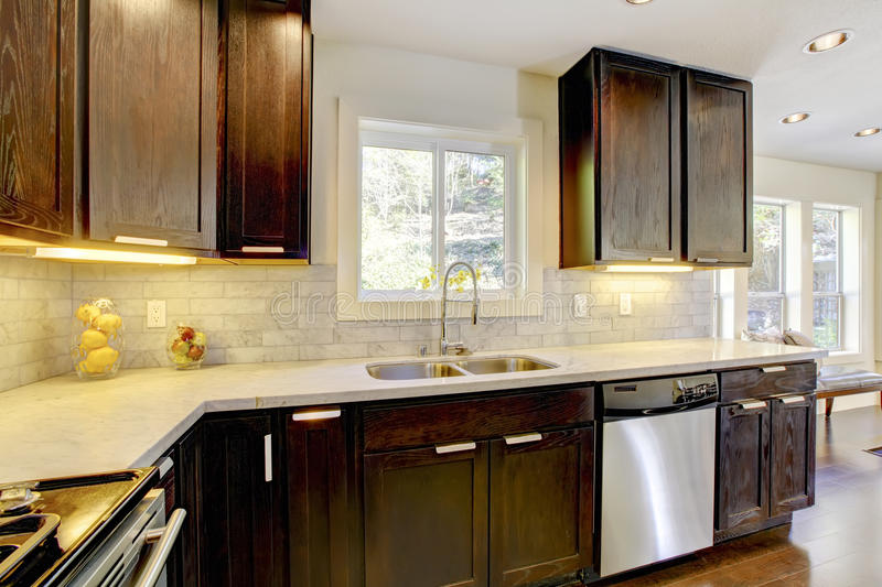 Modern luxury new dark brown and white kitchen. Modern luxury new dark brown and white kitchen with stainless steal appliances stock image
