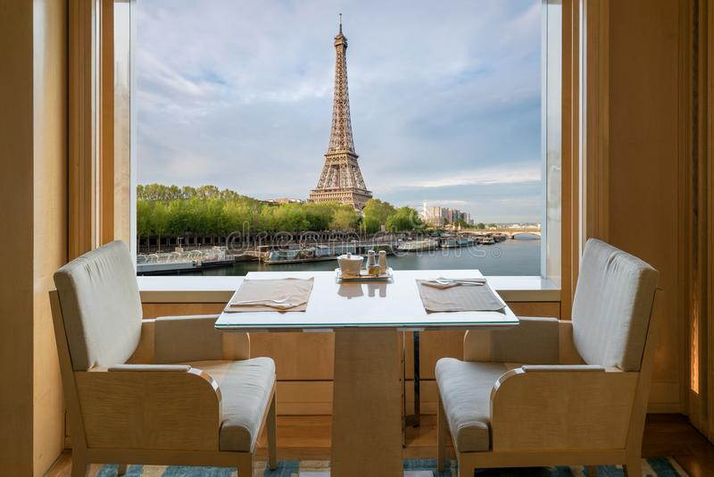 Modern luxury restaurant interior with romantic sence Eiffel Tow stock image
