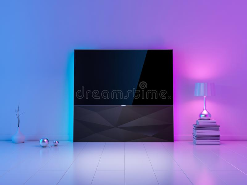 Modern luxury Smart Tv Mockup on stand in white living room with ambient light, evening atmosphere. 3d rendering vector illustration