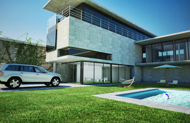 Modern luxury villa with swimming pool. Very stylish architecture, made of concrete and glass stock photography