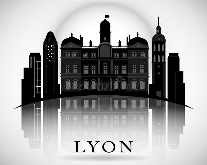 Modern Lyon City Skyline Design. France. Modern Lyon City Skyline Design royalty free illustration