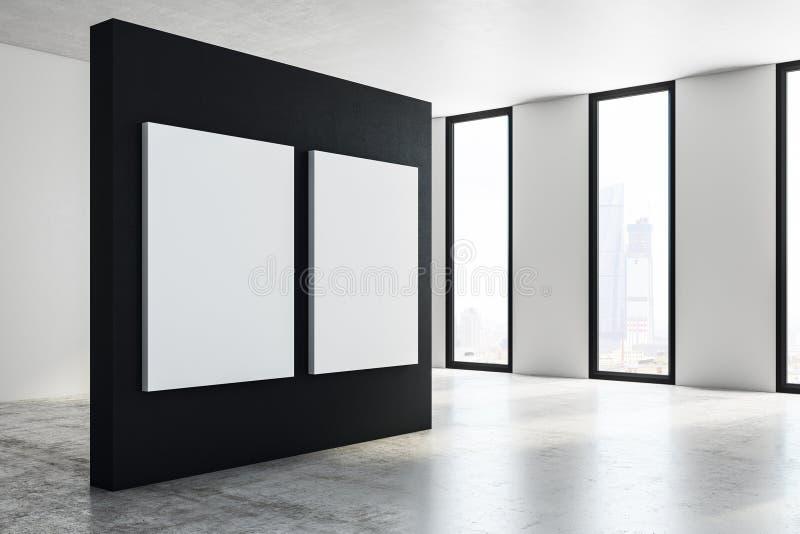 Modern mässhall med affischsidan stock illustrationer