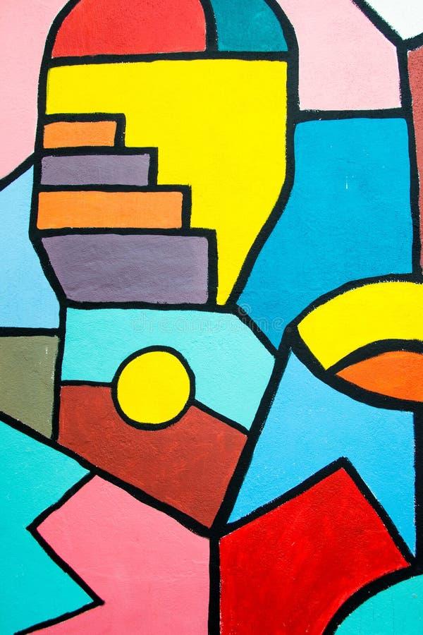 Modern målning för gatakonst på väggen geometrisk abstrakt bakgrund arkivbilder