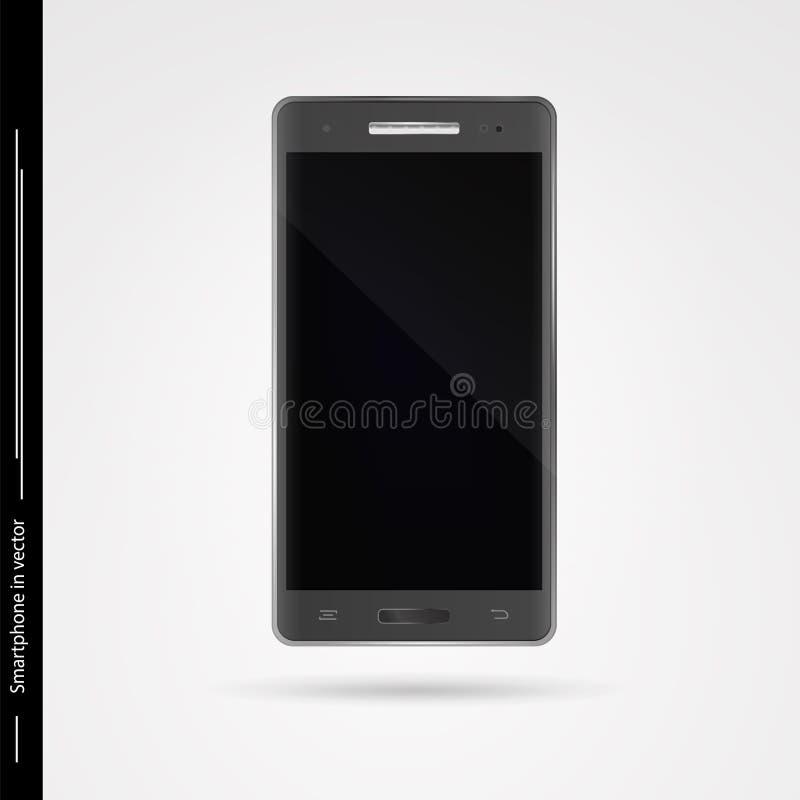 Modern mörk grå smartphone med pekskärmen på vit backgroun vektor illustrationer