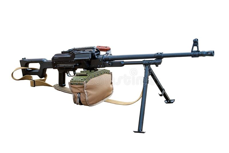 Modern machine gun isolated on a white background. Stock photo stock photography