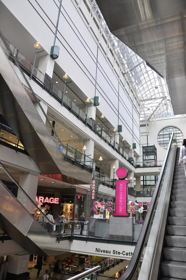 Montreal, 27th June: Magasin Les Ailes from Underground of downtown Montreal in Quebec Province of Canada. The Modern Magasin Les Ailes from Underground of royalty free stock photo