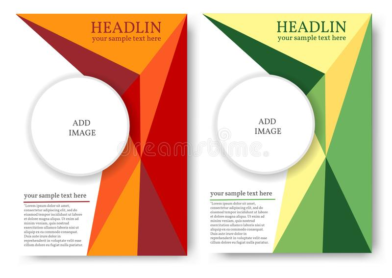 Layout for magazine or book cover with polygonal pattern royalty free illustration