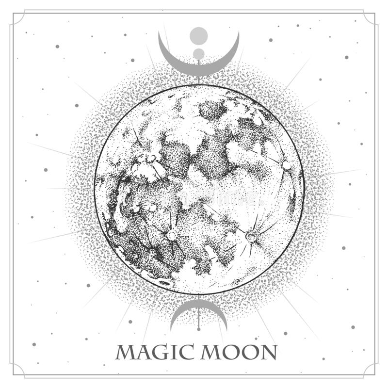 modern magic witchcraft card with astrology full moon