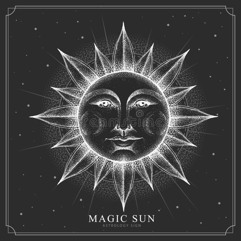 modern magic witchcraft card with astrology sun sign with