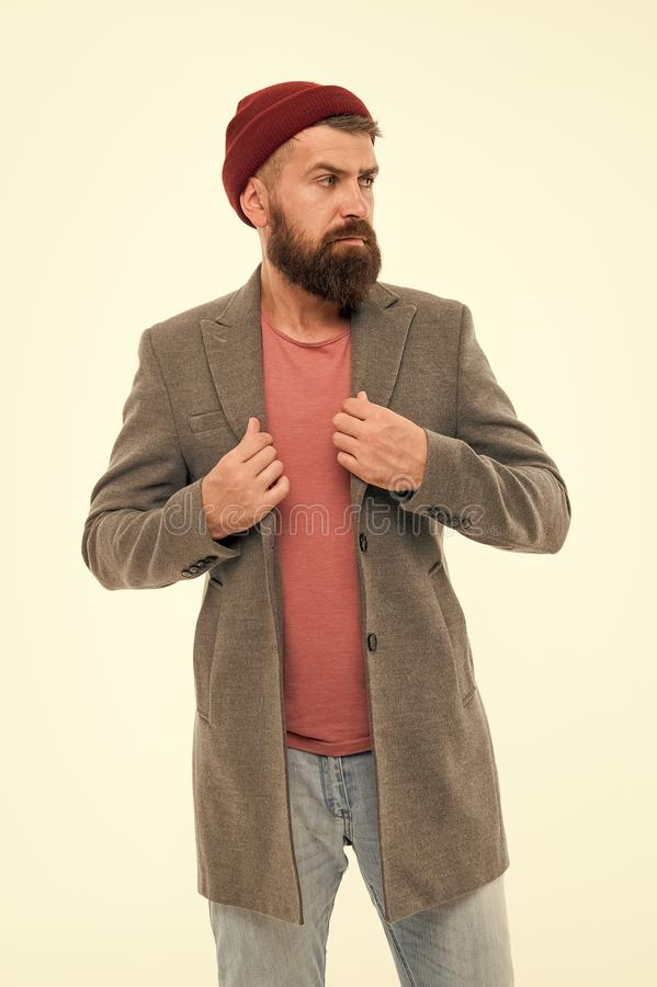 Modern male outfit. Hipster outfit. Stylish casual outfit. Menswear and male fashion concept. Man bearded hipster. Stylish fashionable jacket. Comfortable and royalty free stock photo