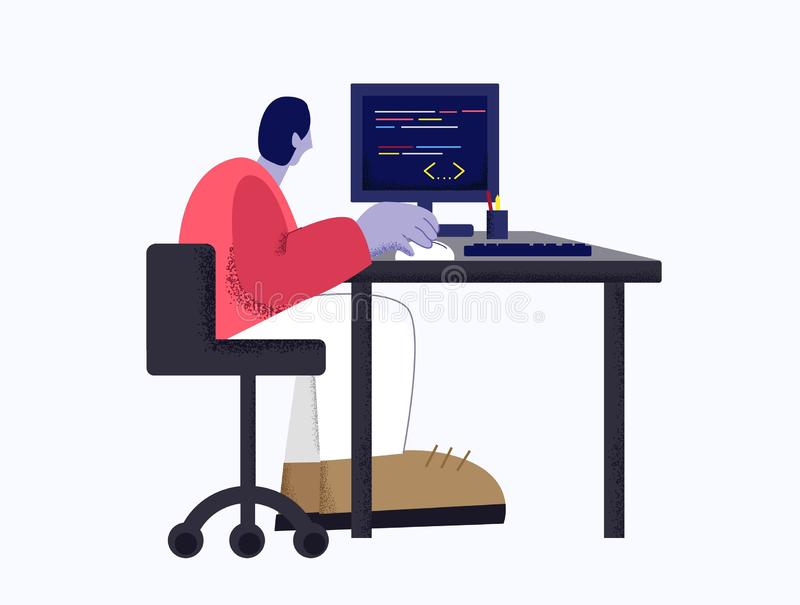 Modern male web developer working with program code using computer isolated at white background. Creative digital man programming website application flat vector illustration