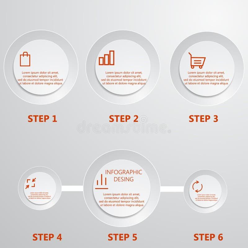Modern mall för infographicstimelinedesign vektor illustrationer