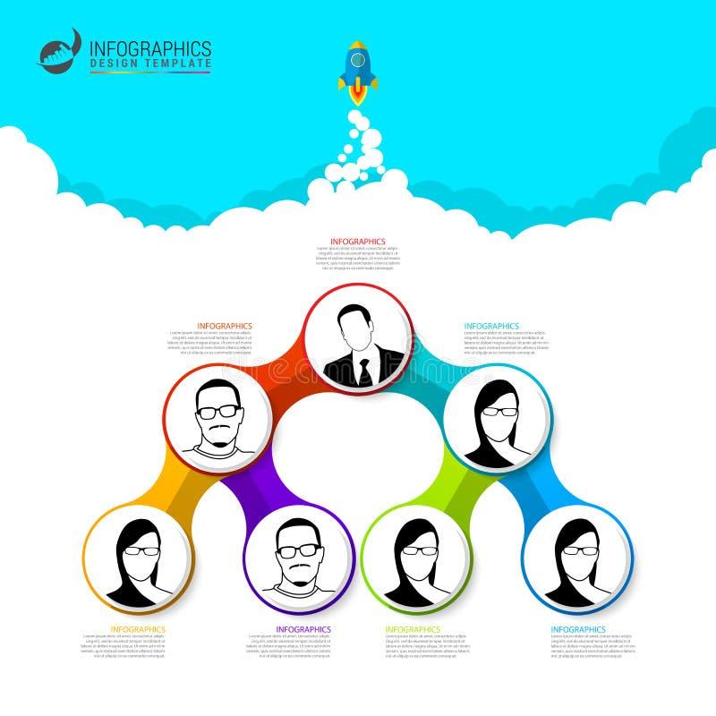 Modern mall för organisationsdiagram Schacket figurerar bishops vektor royaltyfri illustrationer