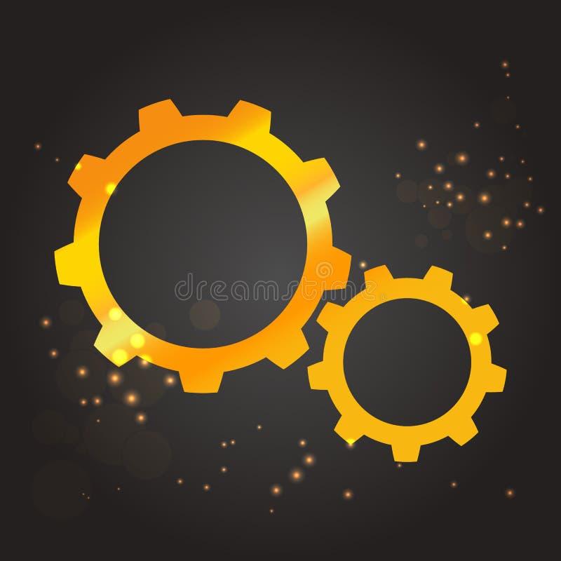 Modern mall för vektorbroschyr- eller räkningsdesign Guld- kugghjulsymbol vektor royaltyfri illustrationer