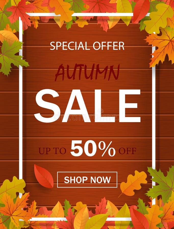 Modern mallbakgrund för website med ramen, sidor och trä Specialt erbjudande, höstförsäljning, rabattbaner Designvektor stock illustrationer