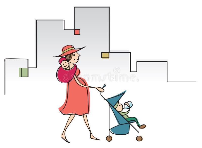 Modern mamma med två lilla barn royaltyfri illustrationer
