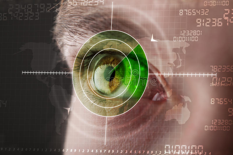 Modern man with cyber technology target military eye. Concept stock images