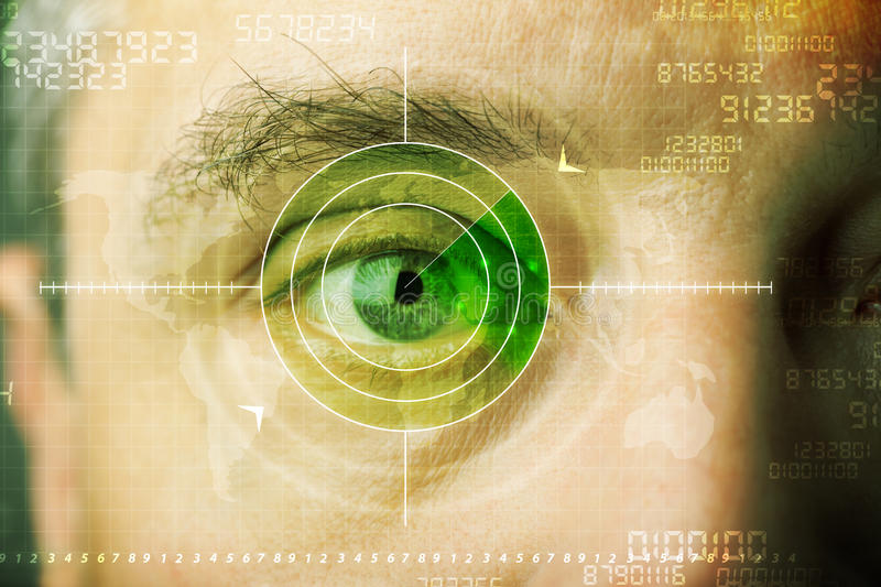 Modern man with cyber technology target military eye. Concept stock photo