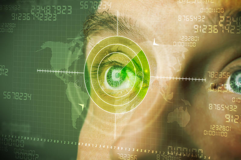Modern man with cyber technology target military eye. Concept royalty free stock photography