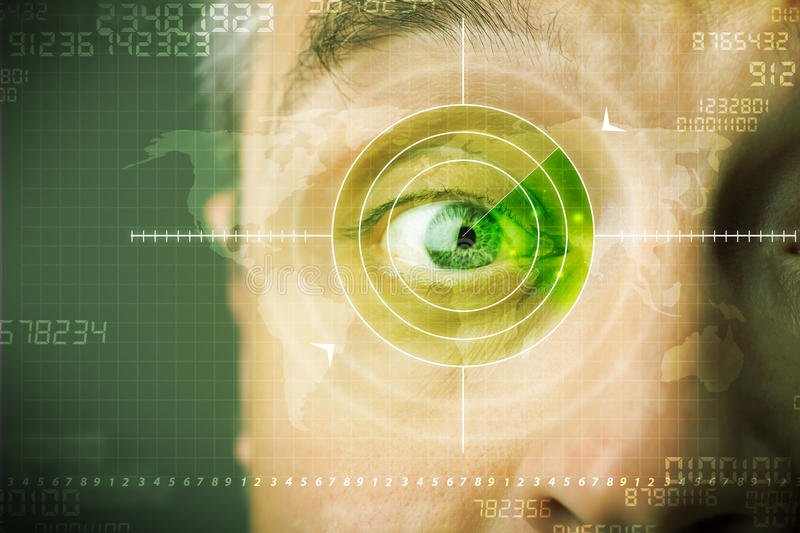 Modern man with cyber technology target military eye. Concept royalty free stock images