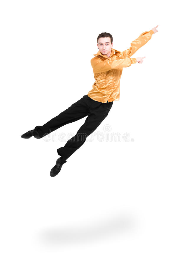 Modern man dancer jumping. On a white background stock photography
