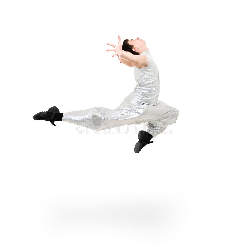 Modern man dancer jumping. On a white background royalty free stock photography