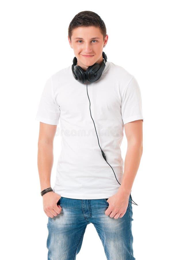 Modern man med hörlurar arkivfoto