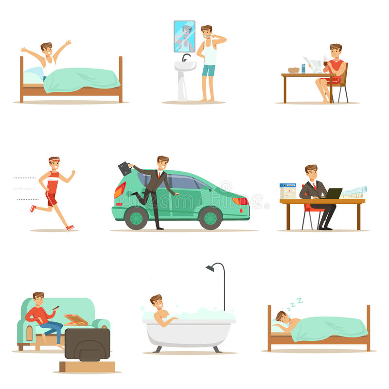 Modern Man Daily Routine From Morning To Evening Series Of Cartoon Illustrations With Happy Character. Normal Work Day Life Scenes Of Smiling Person From vector illustration