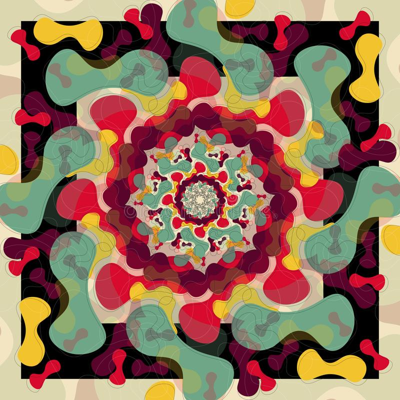Modern Mandala med tappningfärger stock illustrationer