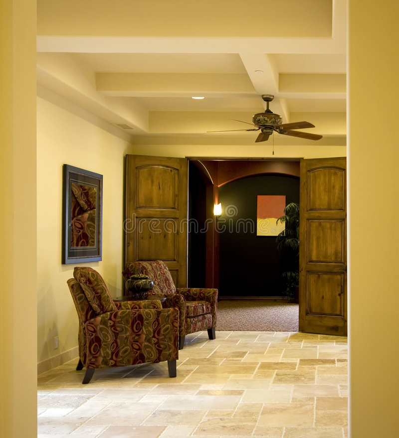 Modern mansion home entry stock image