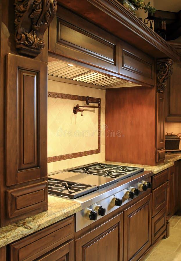 Modern mansion kitchen range royalty free stock images
