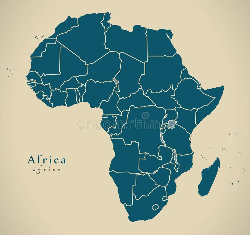 Modern Map - Africa continent with frontiers vector illustration
