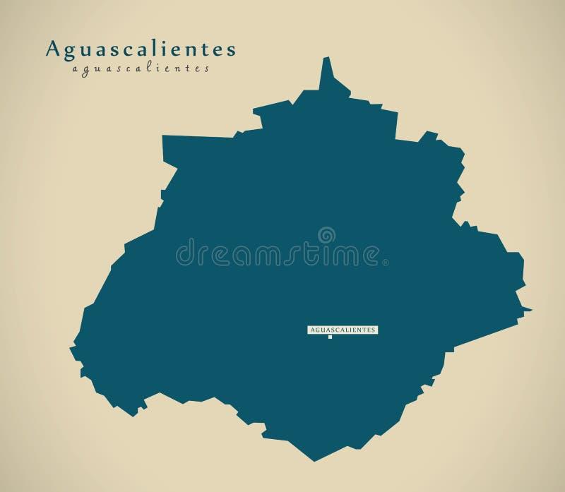 Modern Map Aguascalientes Mexico MX Stock Illustration