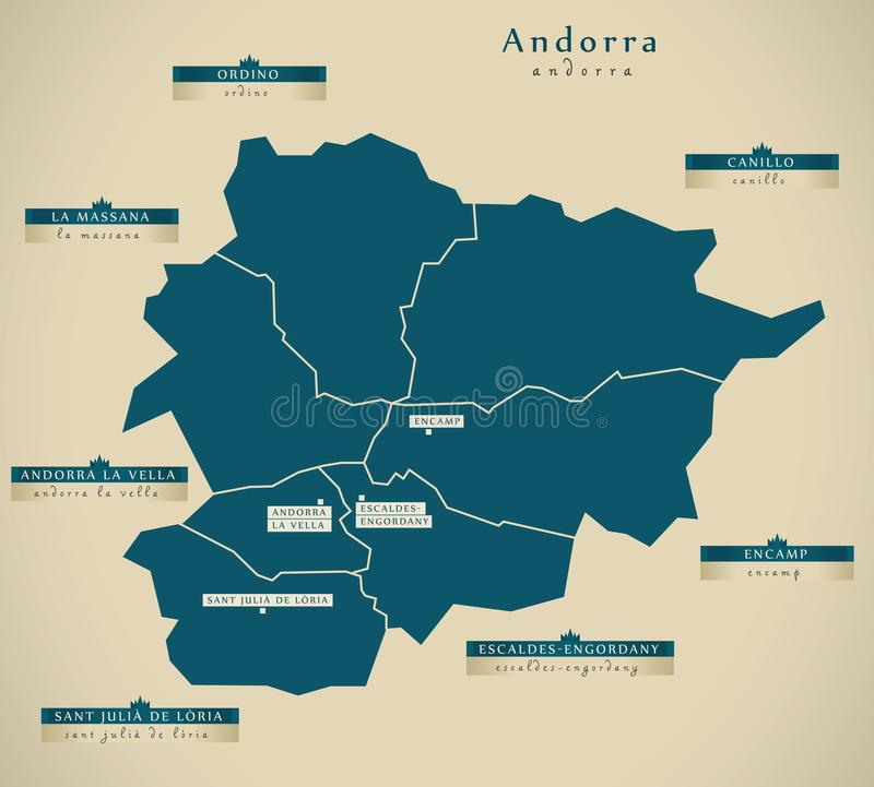Modern Map Andorra With Cities AD Stock Illustration
