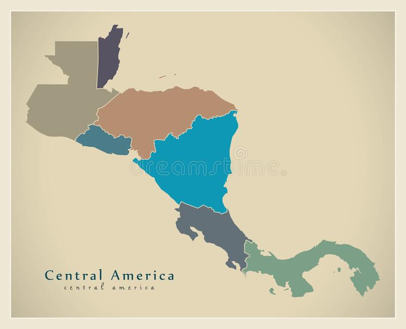 Modern Map - Central America with country borders colored. Illustration vector illustration
