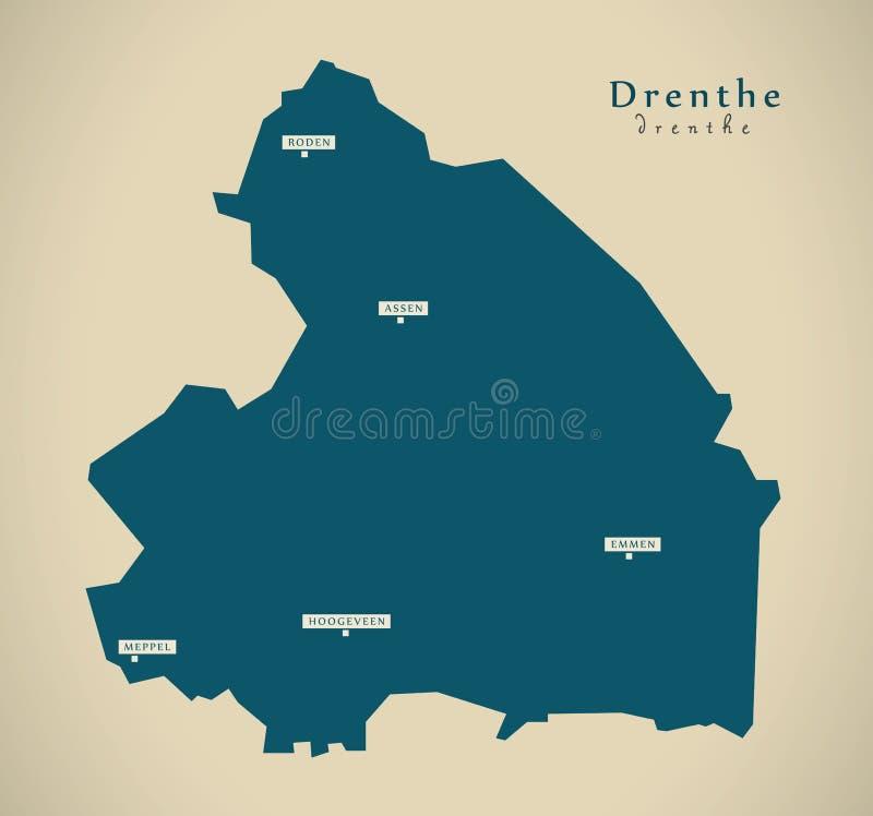 Modern Map - Drenthe NL. Illustration stock illustration