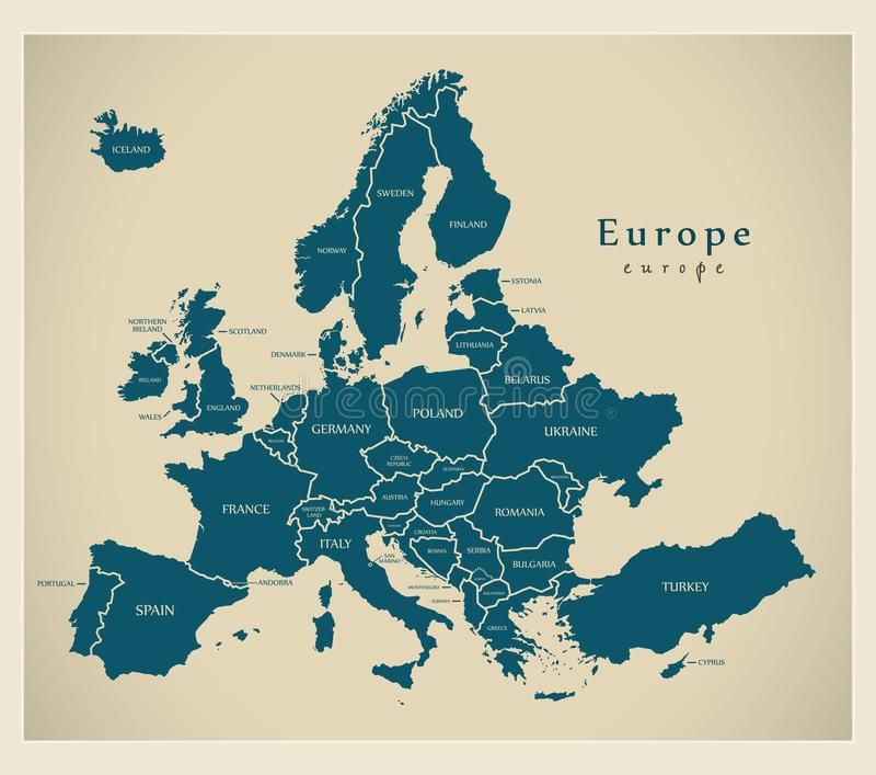 Modern Map - Europe with countries and labels stock image