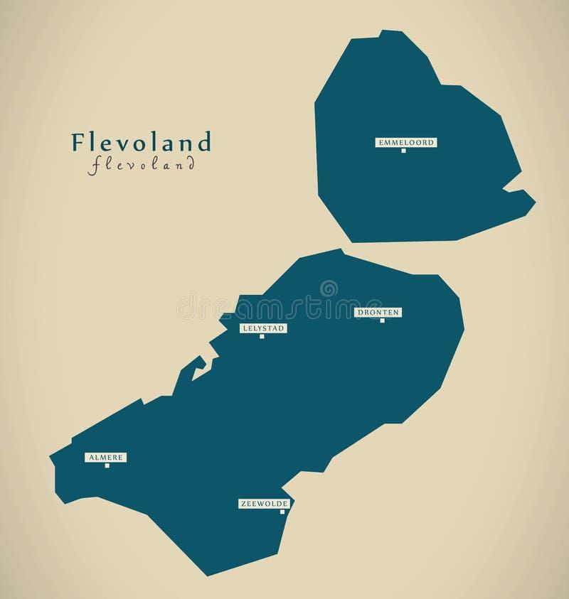 Modern Map - Flevoland NL. Illustration royalty free illustration