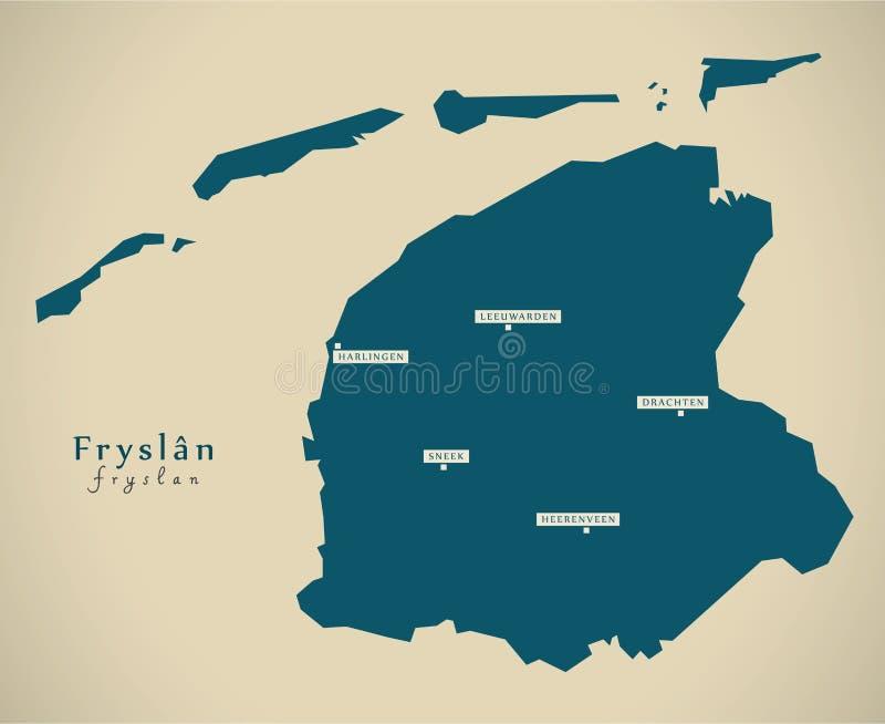 Modern Map - Fryslan NL. Illustration vector illustration
